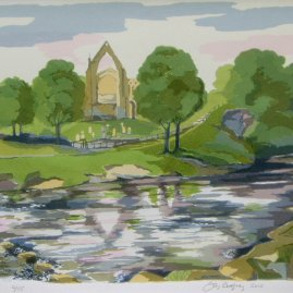 Bolton Abbey, Silkscreen Oil based inks on 310 gsm 100% cotton paper By Joy Godfrey
