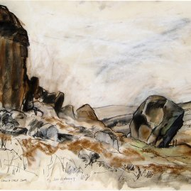 The Cow & Calf 2008 Pastel and Pen By Joy Godfrey