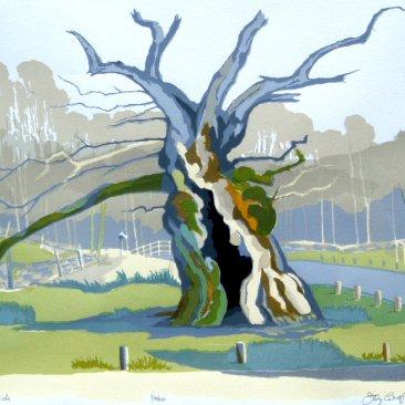 The Laund Oak Silkscreen Oil based inks on 310 gsm 100% cotton paper By Joy Godfrey
