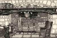 Fireplace c. 15C, The Manor House 1986 Etching By Joy Godfrey