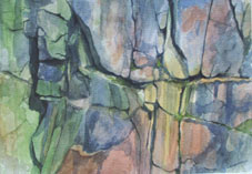 Rockface 2 Watercolour on 600gsm paper By Joy Godfrey