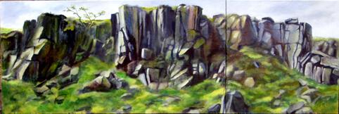 Rocky Valley Oil on Canvas Diptych By Joy Godfrey