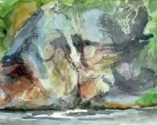 Sketch Rockface Watercolour By Joy Godfrey