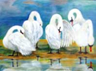 Swan Lake Oil on Canvas By Joy Godfrey
