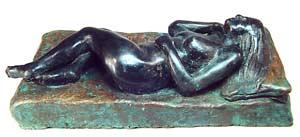 Female Reclining Nude Bronze By Joy Godfrey