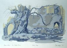 Bolton Abbey, The Chapter House Silkscreen Print By Joy Godfrey
