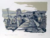 Gateposts at Addingham Moorside,Silkscreen Print By Joy Godfrey
