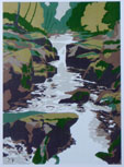 The Strid Limited edition silkscreen print, 1979 By Joy Godfrey